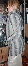 Patrizia Pepe cashmere blend grey striped zipper lined peacoat jacket 42 ret$459