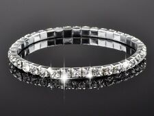 Adjustable Stretch 4-Prong Setting Crystal Silver Single Row Bracelet Stackable