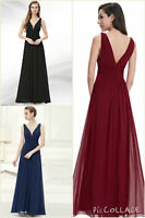 UK Lace Long Chiffon Dress Evening Party Formal Prom Maxi Gown Ball Womens 8-20