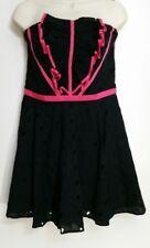 Karen Millen Dress US 10 UK 14 Black Pink Broderie Cocktail Strapless Corset NWT