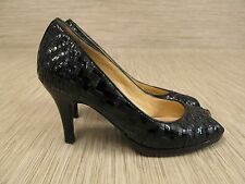 Cole Haan Black Leather Patent Leather Heels Women's Size US 6.5 B Open Toe