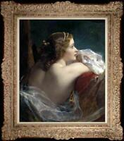 Hand painted Old Master-Art Antique Oil Painting noblewoman girl on canvas