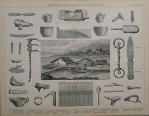 1886 Aufdruck See Dwellings Fibel Stein Meißel Bronze Spatel Mallet Hohlmeißel