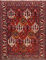 Vintage Vegetable Dye Bakhtiari Geometric Area Rug Hand-knotted Oriental 6'x7'