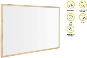 WHITE DRY BOARD WALL MOUNTED WOODEN FRAMED OFFICE NOTICE BOARD WITH BLACK MARKER