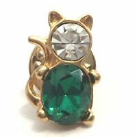 Cat Lapel pin From Avon Stamped With Circle Dot Green & White Rhinestones