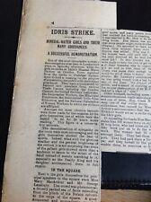 M1-6 ephemera 1911 Article Idros Mineral Water Factory Strike Camden Town