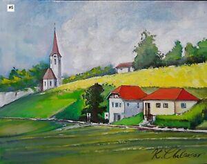 Kamen Chalakov Landscape Dutch Scenery Original Acrylic Painting on Board 11x14