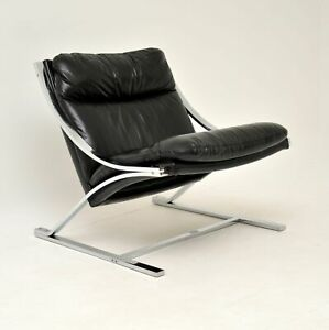 LEATHER & CHROME RETRO ZETA CHAIR BY PAUL TUTTLE FOR STRASSLE VINTAGE 1960's