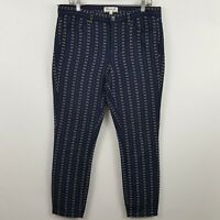 Madewell Navy Blue Aztec Striped Women's Casual Pants Sz 10