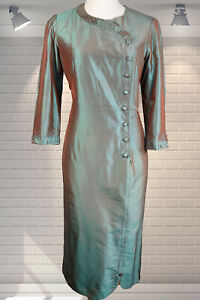Outstanding Vintage Iridescent Shot Silk Bespoke Shift Wiggle Pencil Dress - S