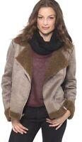 Alpine Swiss Womens Faux Shearling Jacket Fashion Biker Coat Asymmetrical Zipper