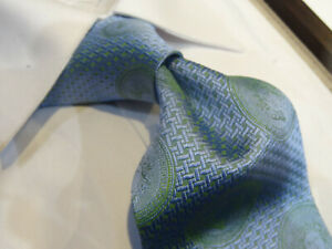 Angelino Silk Tie Necktie blue green houndstooth Medallion Medusa Greek