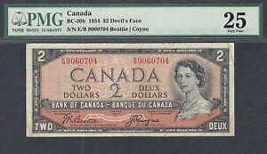 1954 DEVIL'S FACE $2.00 BC-30b PMG VF 25 * SCARCE Canada QEII VF+ DF Two Dollars