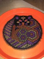 Vintage Round 1970's Cat Serving Tray Funky Metal Rare Cool Psychedelic Ducor