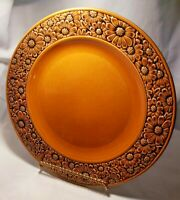 """DAISY IRONSTONE Japan Serving PLATTER Brown Gold Floral Embossed Flowers 12"""" EUC"""