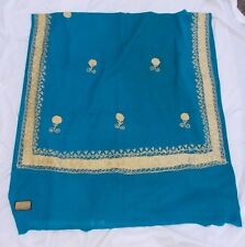 """R.V. Jain Shawl 100% Pure Wool Embroidered Turquoise & Gold India 37"""" x 80"""""""