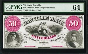 $50 Danville, VA- Danville Bank Proprietary Proof PMG 64- STUNNING COLORS WOW!