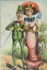 1880's-90's Original Misfit Clothing Parlor Prices Listed Man & Lady Walking P61