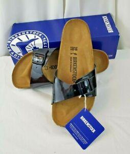 NIB Birkenstock Madrid slides black patent birko flor sandals SZ 39 EU 8 US Wmns