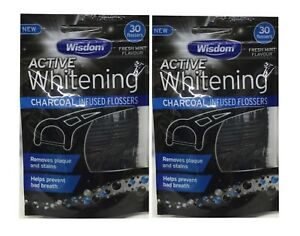 2x Wisdom Active Whitening Charcoal Infused Flossers 30