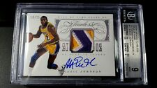 2013-14 MAGIC JOHNSON PANINI FLAWLESS 3-COLOR ON CARD AUTO PATCH 10/25 BGS 9