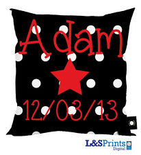 "PERSONALISED STAR DESIGN CUSHION PERFECT BIRTHDAY GIFT 18"" X 18"" BLACK RED"