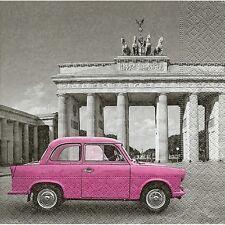 4 single paper decoupage napkins. Vintage pink car, Berlin design -207