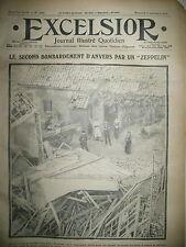 WW1 N° 1394 BELGIQUE ANVERS BOMBARDé ZEPPELIN TERMONDE JOURNAL EXCELSIOR 1914
