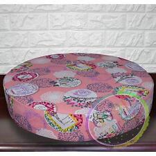AL Elephant Eiffel Tower Geometric Cotton Canvas 3D Round Seat Cushion Cover Siz