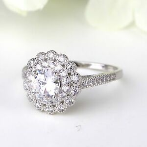Arc Deco Floral Design Double Halo Sterling Silver Engagement Ring Bridal Ring