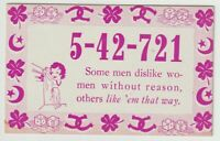 Unused Postcard Comic Mutoscope Lucky Number Today men dislike women without