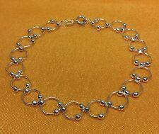 925 Fine Sterling Silver Hoop Link Ladies Bracelet