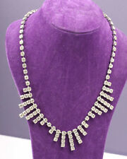 Silver Tone and Clear Rhinestone Necklace, Vintage 1950s