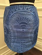 BALMAIN Blue Printed Woven Faux Raffia-Effect Short Skirt - size 38 or us 6