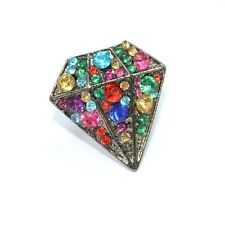 Rainbow Crystal Gem Ring Adjustable Vintage Diamond Shaped Fashion Ladies Women