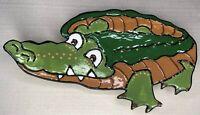 Alligator / Crocodile Handpainted Studio Pottery Footed Wall Hanging / Plate