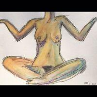 Matt Scalf Nude Woman ORIGINAL PAINTING Naked Girl Watercolor 9x12 Female Figure