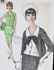 Vtg 1960s Simplicity Pattern 5298 Uncut Jacket Suit  Slim Skirt Classic Tailored