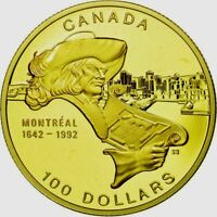 1992 CANADA $100 DOLLARS GOLD COIN MONTREAL  PROOF 1/4 Troy Oz.