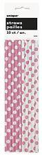 Rosa Lunares - 10 Pajitas de papel - Topos Fiesta Cumpleaños