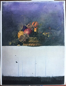 Cargiolli Claudio serigrafia il Cesto 82x60  su carta applicata masonite
