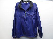 Mens LL Bean FG46 nylon blue purple light weight half zip rain jacket size L EUC