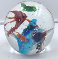 """Murano Italy Glass Aquarium Round Paperweight 7 Fish Turtle Squid 3 ½"""" diameter"""