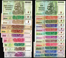 1 to 10 Trillion Zimbabwe Dollars 22 Bank Notes SET w/ 50 Billion 100 Million ++