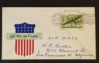 1944 Columbus Ohio to San Francisco California USA Freedom WWII Patriotic Cover