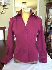 Ann Taylor Cranberry Button Down Fitted L/S Shirt...Size 4...EUC