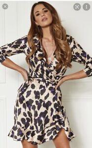 Silkfred John Zack Purple Leopard Print Wrap Mini Dress