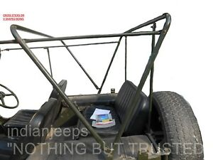 JEEP WILLYS CJ2A ROLLED BACK STITCHED SOFT TOP FITS ON SCISSORS TYPE BOWS V BOWS