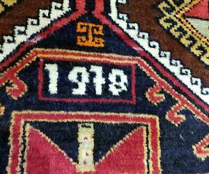 """Primitive Vintage Dated 1978 Wool Pile 3'6""""×11'9"""" Vivid  Dye Kurdish Runner Rug"""